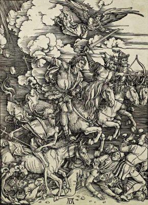 DÜRER Albert. Os quatro cavaleiros do Apocalipse xilogravura séc. XVI. 1 290x400 - Home