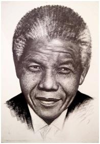 Nelson Mandela Desenho do artista Geraldo Aguiar academico da ABBA - E por falar em arte, onde anda o desenho...